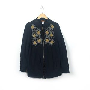 Anthropologie Tea House Embroidered Jacket